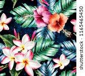 seamless pattern botanical whit ... | Shutterstock . vector #1165465450