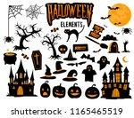 halloween element vector set ... | Shutterstock .eps vector #1165465519