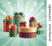 christmas gifts boxes stack | Shutterstock .eps vector #116546680