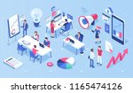 people in open space office... | Shutterstock . vector #1165474126