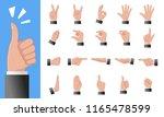 various gestures of human hands ... | Shutterstock .eps vector #1165478599