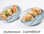 bruschetta from norwegian... | Shutterstock . vector #1165485319