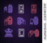 nfc payment neon light icons... | Shutterstock .eps vector #1165487359