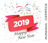 2019 happy new year celebration ... | Shutterstock .eps vector #1165493116