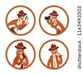 cartoon detective avatars... | Shutterstock .eps vector #1165493503
