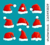 santa red hats. christmas funny ... | Shutterstock .eps vector #1165493839
