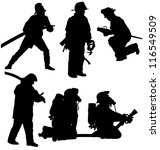 Firefighter Silhouette On Whit...