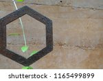 metallic hexagon with climbing... | Shutterstock . vector #1165499899
