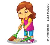 girl clean up garbage with... | Shutterstock .eps vector #1165505290
