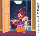 halloween trick or treat... | Shutterstock .eps vector #1165510486