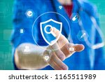 doctor pressing button security ... | Shutterstock . vector #1165511989