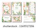 wedding card templates set with ... | Shutterstock .eps vector #1165517206