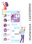 woman and man online dating.... | Shutterstock .eps vector #1165530943