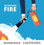 extinguish fire. fireman with... | Shutterstock .eps vector #1165531003