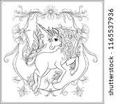 unicorn and fantastic vintage... | Shutterstock .eps vector #1165537936