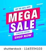 mega sale banner template... | Shutterstock .eps vector #1165554103