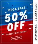 mega sale 50 percent off banner ... | Shutterstock .eps vector #1165554133