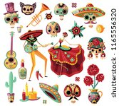 mexican holiday day of dead set ... | Shutterstock .eps vector #1165556320
