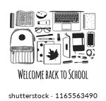 hand drawn school illustration. ... | Shutterstock .eps vector #1165563490