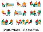 people talking to... | Shutterstock .eps vector #1165564909