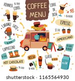 coffee food trucks concept with ... | Shutterstock .eps vector #1165564930