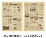 yellowed realistic newspaper... | Shutterstock .eps vector #1165569226