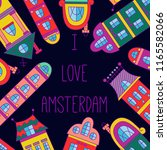 amsterdam houses colorful cute... | Shutterstock .eps vector #1165582066
