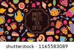 sweets bakery tea coffee doodle ... | Shutterstock .eps vector #1165583089