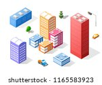 colorful 3d isometric city of... | Shutterstock . vector #1165583923
