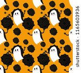 seamless pattern  white ghosts  ... | Shutterstock .eps vector #1165603936