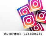 Small photo of OXFORD, UK - AUGUST 22nd 2018: A collection of Instagram logos printed onto paper. Instagram is a popular social media application for sharing images and videos
