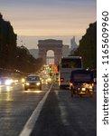sunset scene in paris city.... | Shutterstock . vector #1165609960