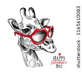 fun giraffe in a red lips... | Shutterstock .eps vector #1165610083