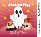 halloween card with ghost... | Shutterstock .eps vector #1165617676