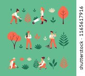 vector set of illustrations in... | Shutterstock .eps vector #1165617916