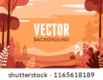 Stock vector vector illustration in flat linear style autumn background landscape illustration with plants 1165618189