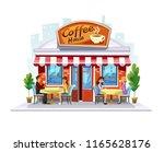 colorful coffeeshop building.... | Shutterstock .eps vector #1165628176