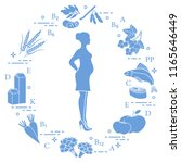 pregnant woman and foods rich... | Shutterstock .eps vector #1165646449