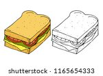 hamburger sandwich.bread with... | Shutterstock .eps vector #1165654333