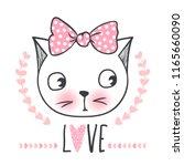 cute cat vector design. girly... | Shutterstock .eps vector #1165660090