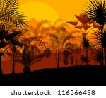 Tropical palm tree background vector - stock vector