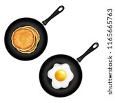 pan with pancake and fried eggs ...   Shutterstock .eps vector #1165665763
