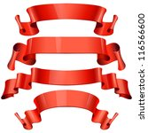red glossy vector ribbons on a... | Shutterstock .eps vector #116566600