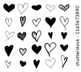 heart hand drawn icons set... | Shutterstock .eps vector #1165673890