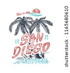 this is my san diego. handmade... | Shutterstock .eps vector #1165680610