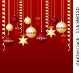 red card with christmas balls ... | Shutterstock .eps vector #116568130