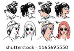 hand drawn fashion girls ... | Shutterstock .eps vector #1165695550