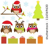 cute christmas vector set with... | Shutterstock .eps vector #116569630