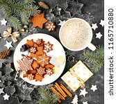 cookies and coffee. merry...   Shutterstock . vector #1165710880