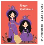 vector of cute witches for... | Shutterstock .eps vector #1165717363